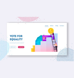 gender equality landing page template tiny male vector image