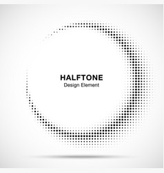 halftone circle frame abstract dots logo emblem vector image