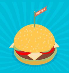 Hamburger isometric flat design vector