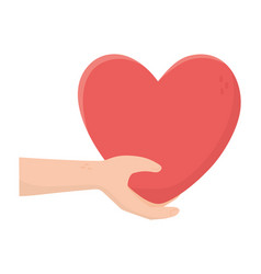 Hand with big heart charity and donation concept vector