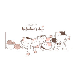 happy valentines day with cute animal cartoon vector image