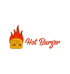 hot burger fire logo designs inspiration isolated vector image