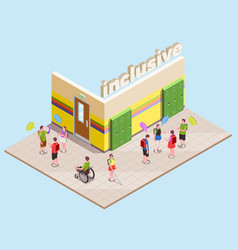 Inclusive education isometric composition vector