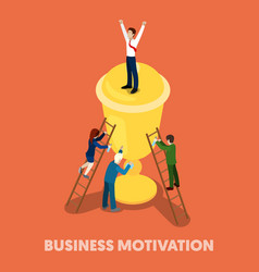 Isometric business people motivation concept vector