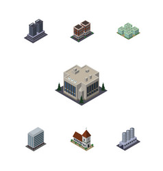 isometric construction set of water storage house vector image