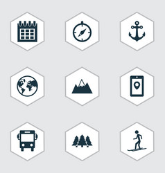 journey icons set with earth anchor map app and vector image