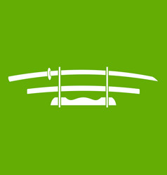 Katana japanese sword icon green vector
