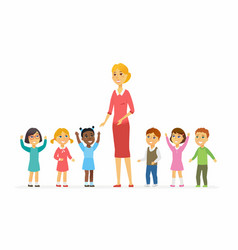 kindergarten teacher with children - cartoon vector image