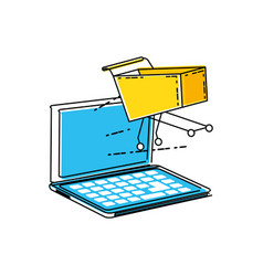 laptop computer with shopping cart vector image