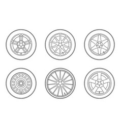 line wheels set vector image