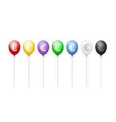 lined up different colored balloons with euro vector image