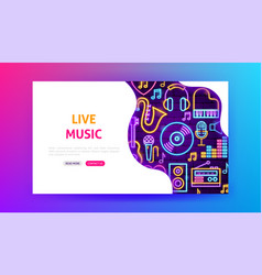 live music neon landing page vector image