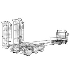 Low bed truck trailer abstract drawing wire vector