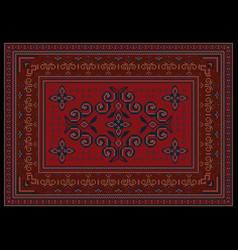 Luxury carpet ornament red and burgundy shades vector