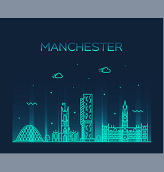 manchester skyline big city england linear vector image
