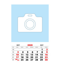 May 2020 calendar planner a3 size with place vector