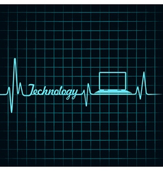 Medical technology concept -heartbeat with laptop vector