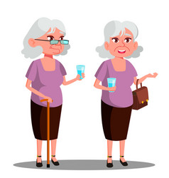 modern old woman with a glass in her hand vector image