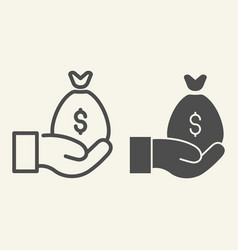 money bag on the hand line and glyph icon cash vector image