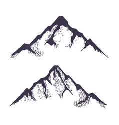 mountains set hand drawn rocky peaks vector image