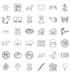 mushroom icons set outline style vector image