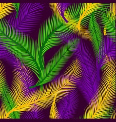 Nature seamless pattern of palms color of mardi vector