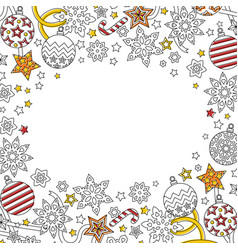 new year background with doodle snowflakes fir vector image
