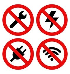 No Repair No Llightning No Plug and No Wifi Symbol vector