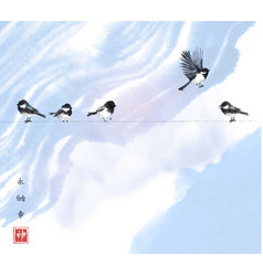 One bird flying in sky and four little birds vector