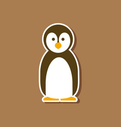 Paper sticker on stylish background penguin vector