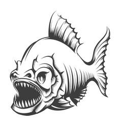 Piranha fish engraving vector