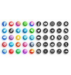 Popular social media modern 3d and flat round vector