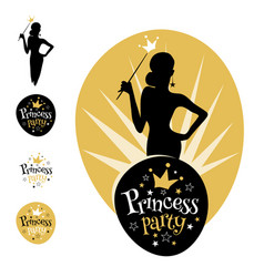 Princess party logo design vector
