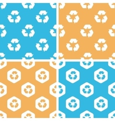 Recycling sign pattern set colored vector