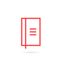 red linear simple notebook icon vector image