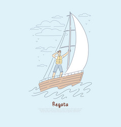 Regatta yachting competition young sailor vector