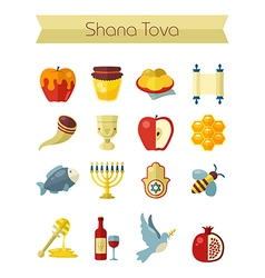 Rosh Hashanah Shana Tova Jewish New year icon set vector