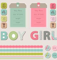Scrapbook baby girl and boy set vector
