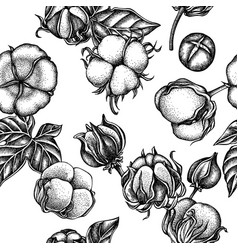 seamless pattern with black and white cotton vector image