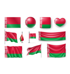 set belarus flags banners banners symbols flat vector image