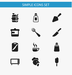 set of 12 editable food icons includes symbols vector image