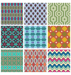 Set of geometric seamless pattern vector image