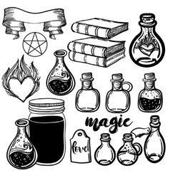 Set of glass flasks Magic potions set of vector