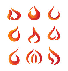 set of gradient fire logo vector image