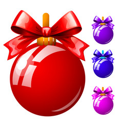 set of multicolored christmas balls with bowknots vector image