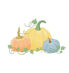 Set three pumpkins cartoon style isolated vector