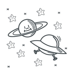 Stars planet ufo space sketch design vector