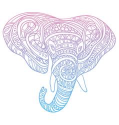 Stylized head of an elephant ornamental portrait vector
