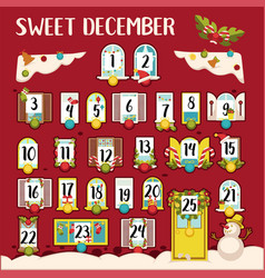 sweet december calendar with dates and traditional vector image