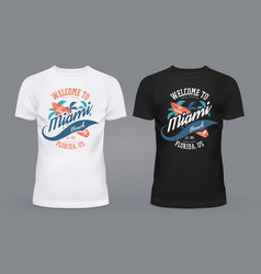 T-shirts with surfer board and palms of miami vector